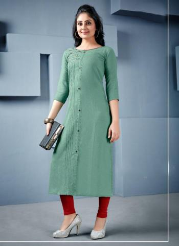 Green Rayon Office Wear Hand Work Kurti