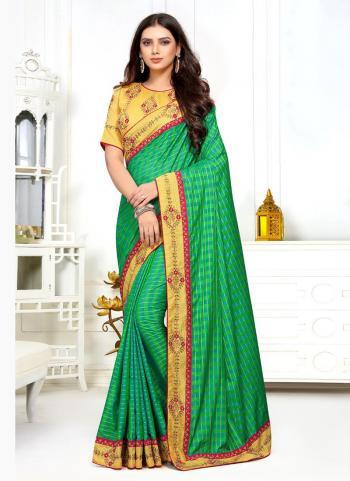 Green Sana Silk Festival Wear Lace Work Saree