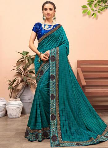 Green Silk Festival Wear Border Work Saree