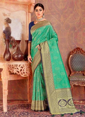 Green Silk Festival Wear Zari Work Saree