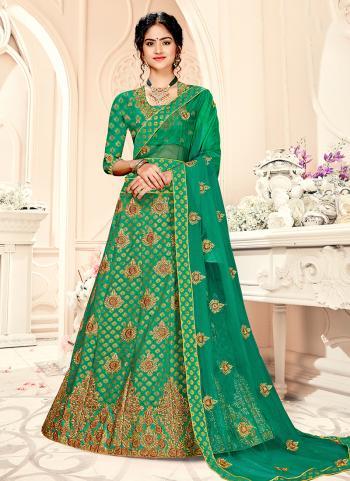 Green Silk Mehendi Wear Embroidery Work Lehenga Choli