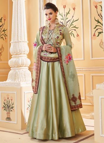 Embroidery Work Anarkali Suit Green Silk Party Wear