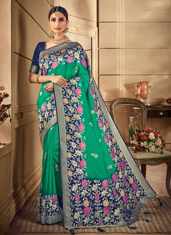 Green Silk Party Wear Weaving Saree