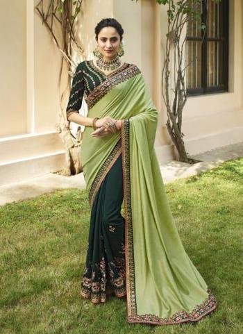 Green Silk Reception Wear Sequins Work Saree