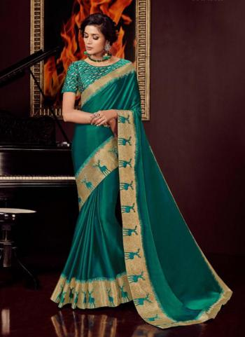 Green Silk Wedding Wear Border Work Saree