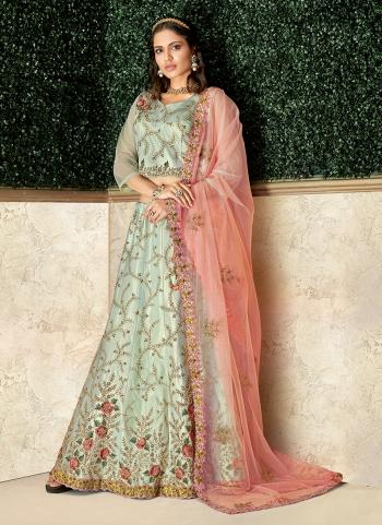 Green Silk Wedding Wear Thread Work Lehenga Choli