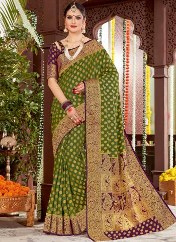 Green Silk Occasion And Wedding Wear Weaving Saree