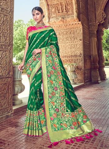 Green Silk Wedding Wear Weaving Saree