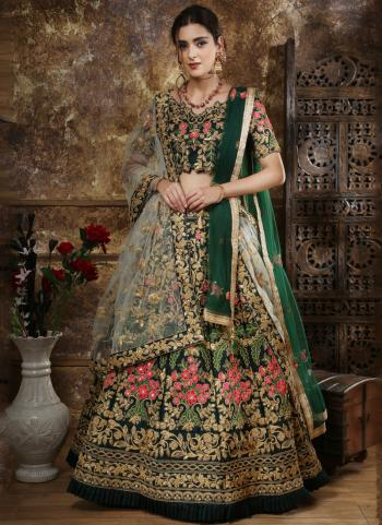 Green Tapeta Satin Wedding Wear Sequins Work Lehenga Choli