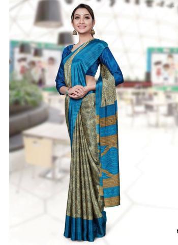Green Turkey Silk Regular Wear Printed Work Uniform Saree