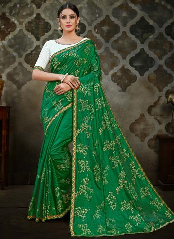 Green Two Tone Silk Festival Wear Foil Printed Work Saree