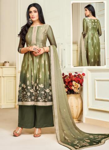 Green Upada Silk Regular Wear Digital Print Churidar Style