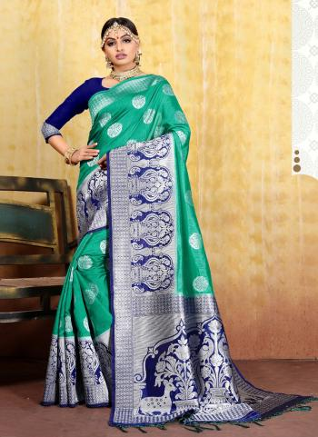 Green Weaving Silk Festival Wear Border Work Saree