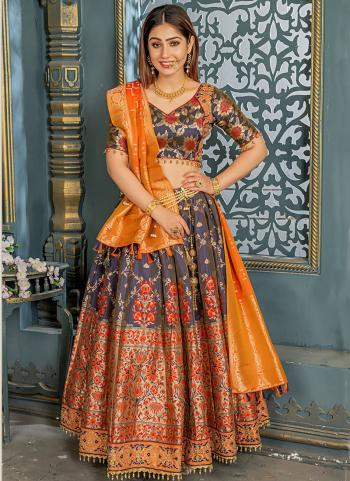 Grey Banarasi Silk Festival  And Reception Wear Resham Work  Lehenga Choli