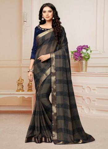 Grey Banarasi Silk Regular Wear Lace Work Saree