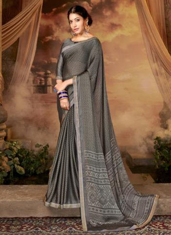 Grey Brocade Casual Wear Printed Work Saree