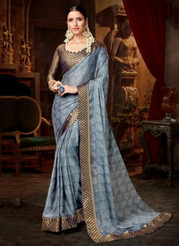 Grey Chiffon Casual Wear Lace Work Saree