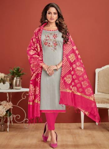 Grey Cotton Casual Wear Embroidery Work Churidar Suit