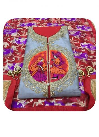 Grey Cotton Office Wear Embroidery Work Non Salwar Suit
