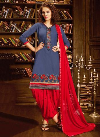 Grey Cotton Office Wear Embroidery Work Patiala Suit