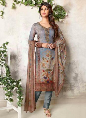New Arrivals Grey Cotton Satin Festival Wear Embroidery Work Churidar Suit