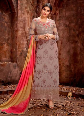 Grey Georgette Stylish And Party Wear Embroidery Work New Churidar Suit