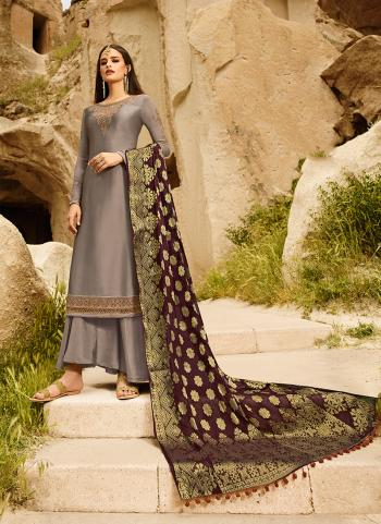 Grey Georgette Party Wear Embroidery Work Palazzo Suit