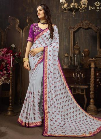 Grey Georgette Silk Casual Wear Embroidery Work Saree