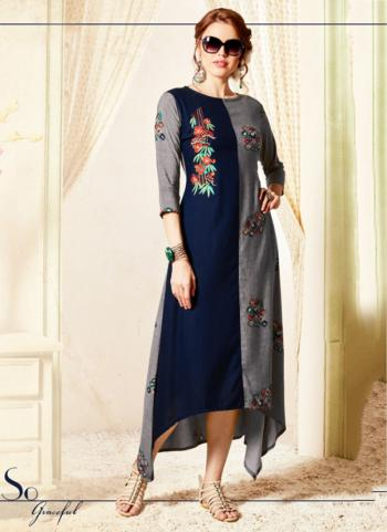 Grey Heavy Rayon Festival Wear Embroidery Work Long Kurti