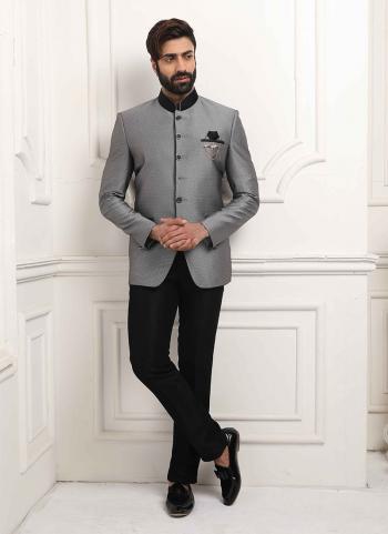 Grey Jodhpuri Party Wear Fancy Work Jacket And Pant