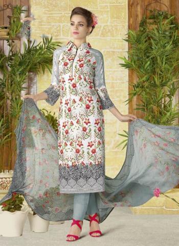 Grey Lawn Cotton Party Wear Printed Work Churidar Style