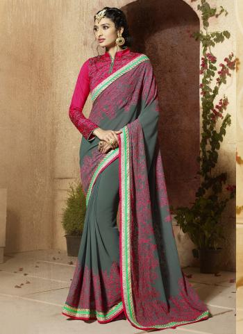 Grey Liva Party Wear Embroidered Work Saree