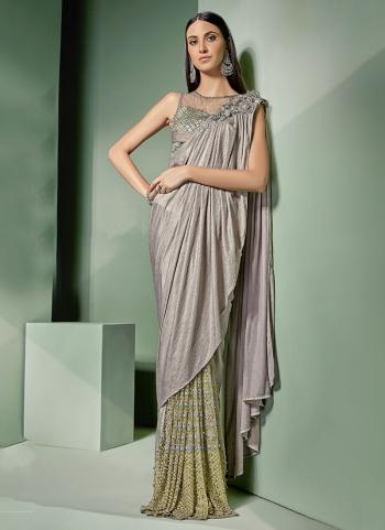 Grey Lycra Fancy Net Party Wear Zari Embroidery Work Ready to wear saree