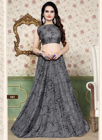 Grey Lycra Party Wear Foil Printed Work Choli With Skirt