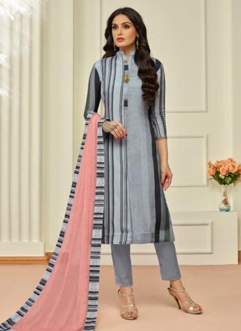 Grey Muslin Cotton Regular Wear Printed Work Churidar Style
