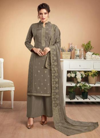 Grey Muslin Festival Wear Embroidery Work Palazzo Suit