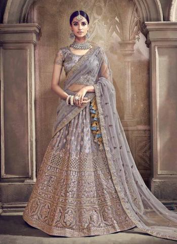 Grey Net Bridal Wear Coading Work Lehenga Choli