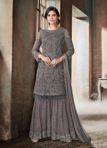 Grey Net Reception Wear Heavy Embroidery Work Sharara Style