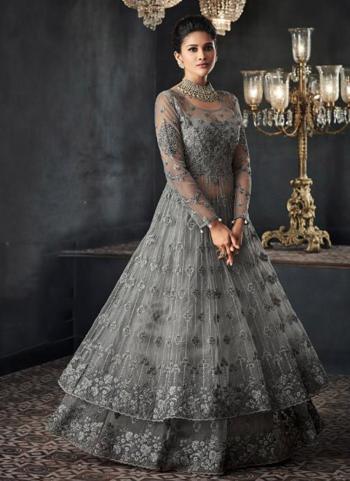 Grey Net Reception Wear Khat Hand Work Anarkali Suit
