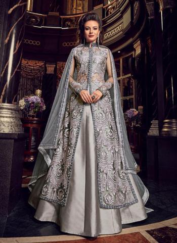 Grey Net Wedding Wear Embroidery Work Anarkali Style