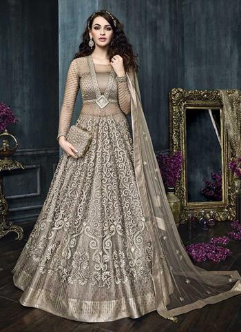Grey Net Wedding Wear Heavy Embroidery Work Anarkali Style