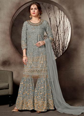 Grey Net Wedding Wear Heavy Embroidery Work Exclusive Sharara Suit