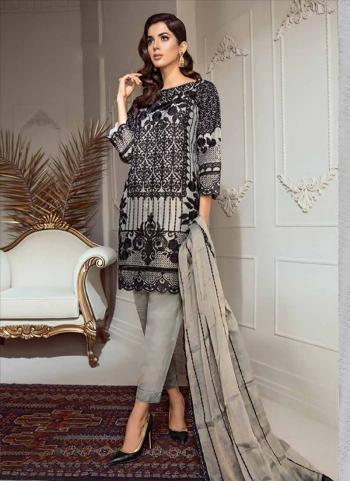 Grey Organza Regular Wear Embroidery Work Pakistani Style