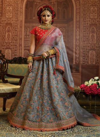 Grey Organza Wedding Wear Heavy Embroidery Work Lehenga Choli