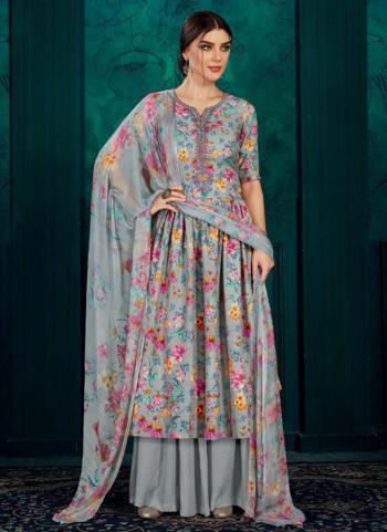 Grey Pashmina Casual Wear Printed Work Palazzo Suit