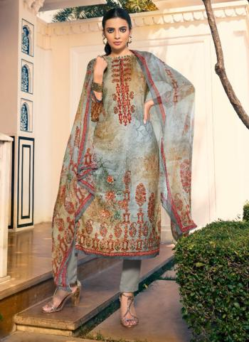 Grey Pashmina Daily Wear Printed Work Churidar Suit