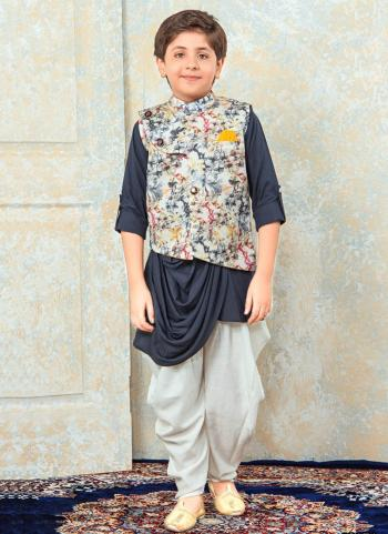 Grey Rayon Festival Wear Diamond Work Kids Kurta Pajama
