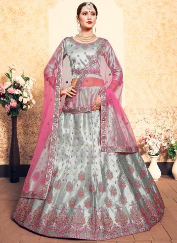 Grey Satin Wedding Wear Thread Work Lehenga Choli