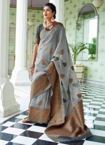 Grey Silk Festival Wear Weaving Saree