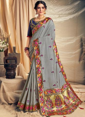 Grey Silk Party Wear Embroidery Work Saree